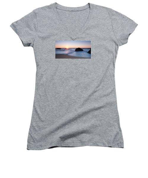 Gray Whale Cove State Beach 3 Women's V-Neck T-Shirt (Junior Cut) by Catherine Lau