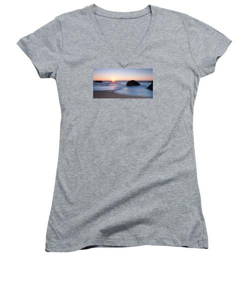 Gray Whale Cove State Beach 3 Women's V-Neck T-Shirt