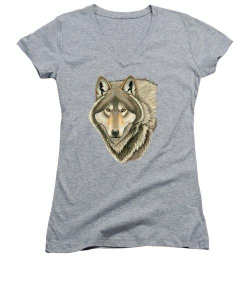 Gray Wolf Portrait Women's V-Neck