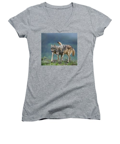 Gray Wolves Women's V-Neck T-Shirt