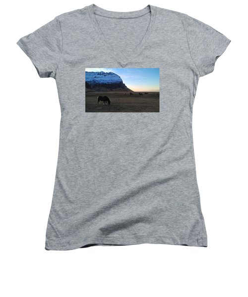 Grazing At Dawn Women's V-Neck (Athletic Fit)