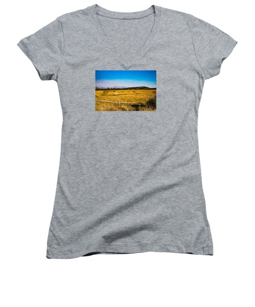 Grazing Horses Women's V-Neck T-Shirt (Junior Cut) by Cathy Donohoue