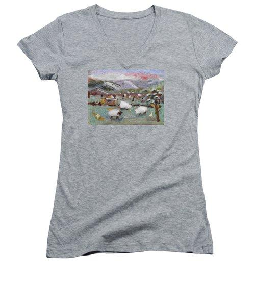 Grazing Woolies Women's V-Neck T-Shirt