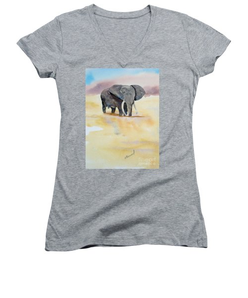 Women's V-Neck T-Shirt (Junior Cut) featuring the painting Great African Elephant  by Vicki  Housel