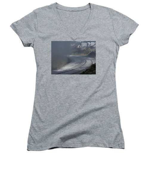 Great Aletsch Glacier In The Clouds. Canton Of Valais, Switzerland. Women's V-Neck T-Shirt (Junior Cut) by Ernst Dittmar