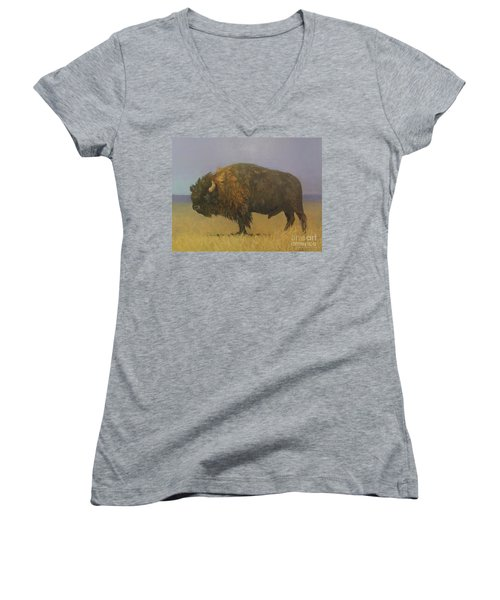 Great American Bison Women's V-Neck (Athletic Fit)