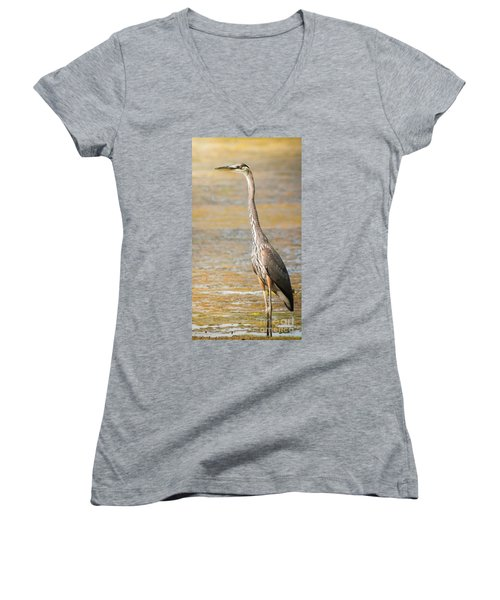 Women's V-Neck T-Shirt (Junior Cut) featuring the photograph Great Blue At The Flats by Robert Frederick