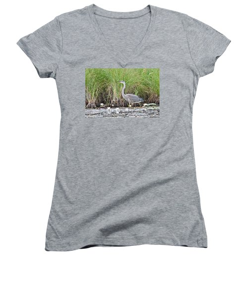 Great Blue Heron 6209 Women's V-Neck T-Shirt