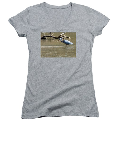 Great Blue Heron Dinning Women's V-Neck T-Shirt (Junior Cut) by Edward Peterson