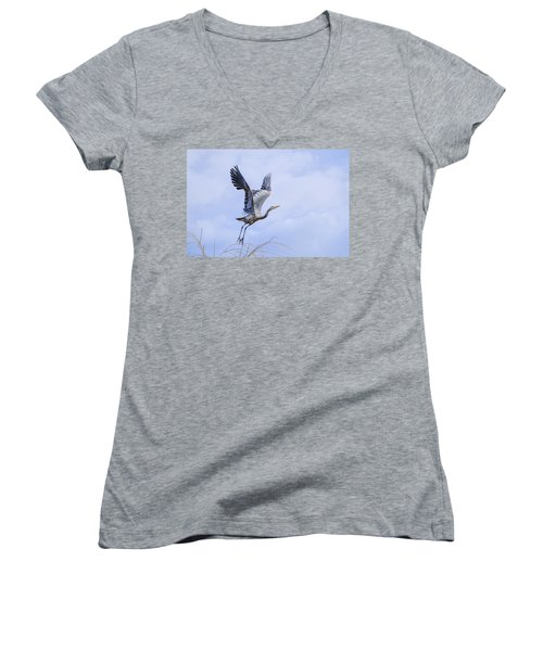 Great Blue Heron In Flight Women's V-Neck T-Shirt (Junior Cut) by Keith Boone