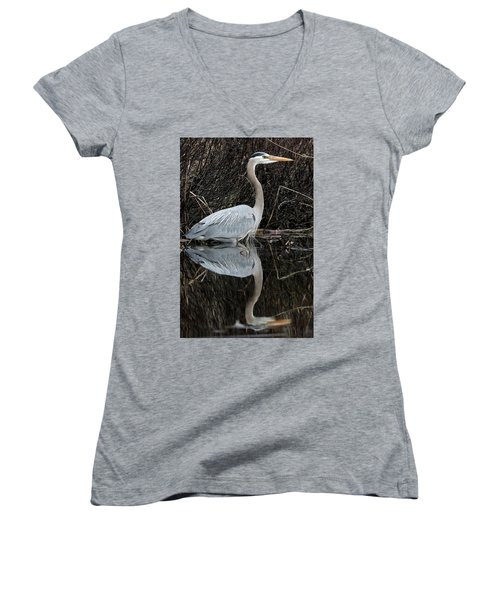 Great Blue Heron Reflection 1 Women's V-Neck (Athletic Fit)