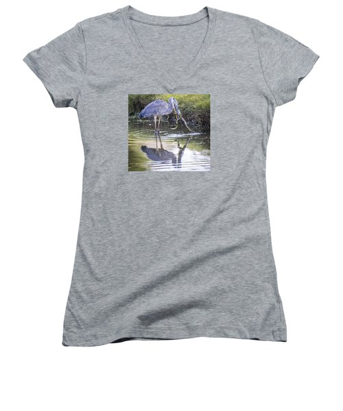 Women's V-Neck T-Shirt (Junior Cut) featuring the photograph Great Blue Heron Vs Huge Frog by Ricky L Jones