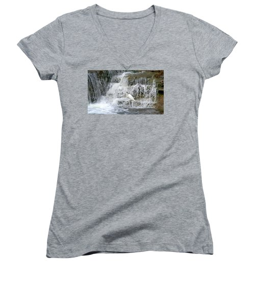 Great Egret Hunting At Waterfall - Digitalart Painting 4 Women's V-Neck T-Shirt