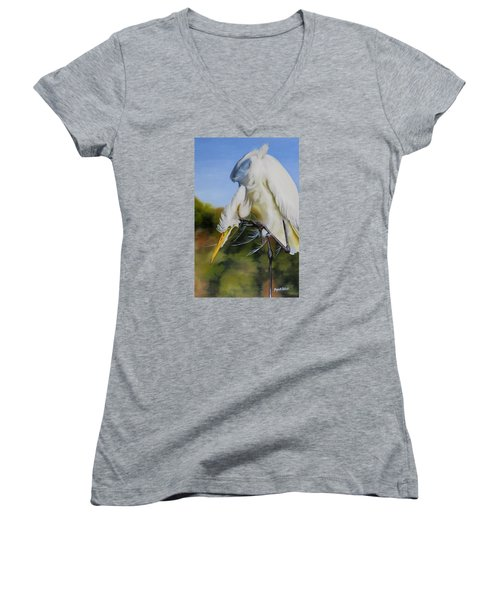 Women's V-Neck T-Shirt (Junior Cut) featuring the painting Great Egret In Fall by Phyllis Beiser