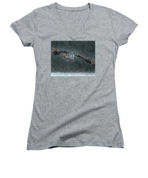 Great Gray Wintery Flight Women's V-Neck T-Shirt (Junior Cut) by CR Courson