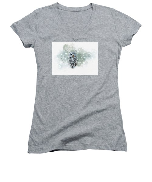 Great Grey Owl In Snowstorm Women's V-Neck