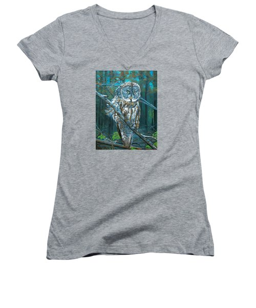 Great Grey Owl Women's V-Neck T-Shirt (Junior Cut) by Sharon Duguay