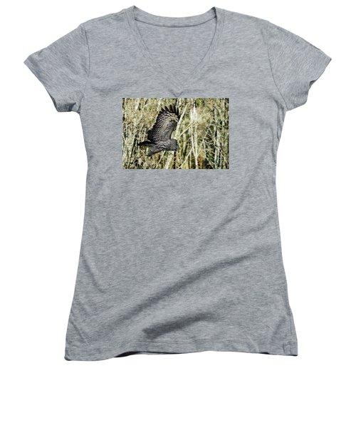 Great Grey's Flight Women's V-Neck T-Shirt (Junior Cut) by Torbjorn Swenelius