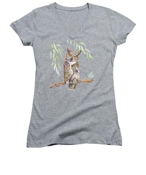 Great Horned Owl  Women's V-Neck T-Shirt (Junior Cut)