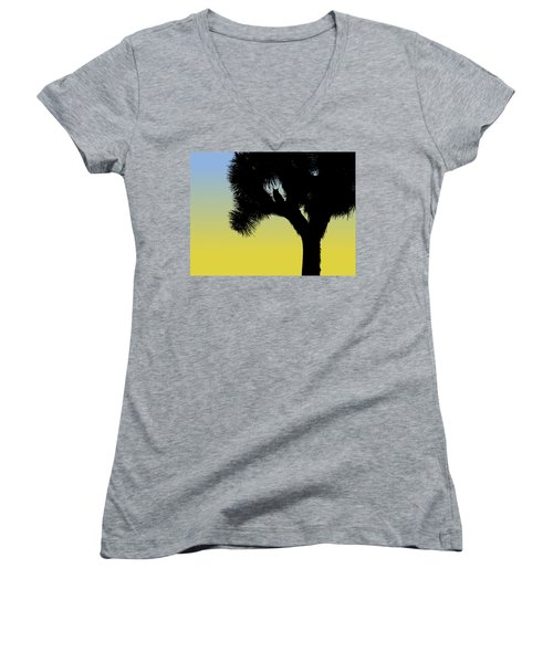 Great Horned Owl In A Joshua Tree Silhouette At Sunrise Women's V-Neck (Athletic Fit)