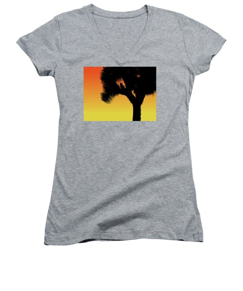 Great Horned Owl In A Joshua Tree Silhouette At Sunset Women's V-Neck (Athletic Fit)