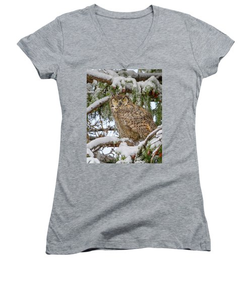 Great Horned Owl In Snow Women's V-Neck T-Shirt