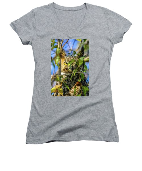 Great Horned Owl Peeking At It's Prey Women's V-Neck