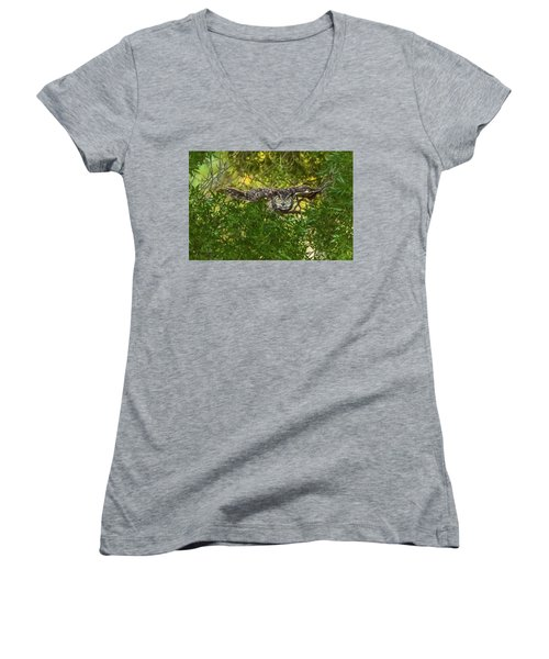 Great Horned Owl Take Off Women's V-Neck (Athletic Fit)