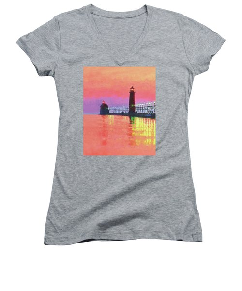 Great Lakes Light Women's V-Neck T-Shirt (Junior Cut) by Dennis Cox WorldViews