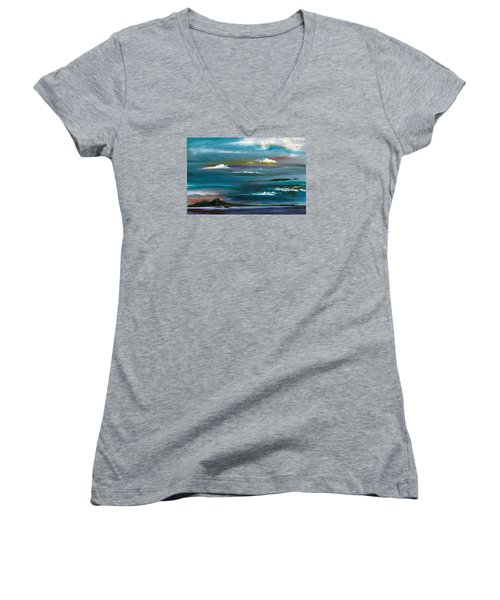 Women's V-Neck T-Shirt (Junior Cut) featuring the painting Great Salt Lake by Jane Autry