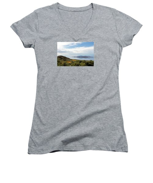Great Salt Lake Women's V-Neck T-Shirt (Junior Cut) by Menachem Ganon