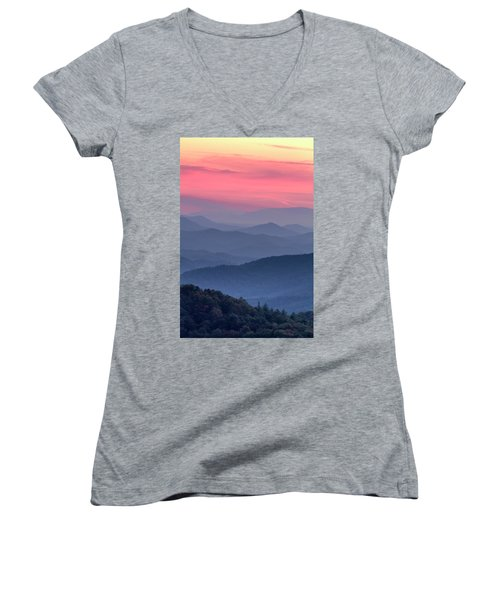 Great Smoky Mountain Sunset Women's V-Neck (Athletic Fit)