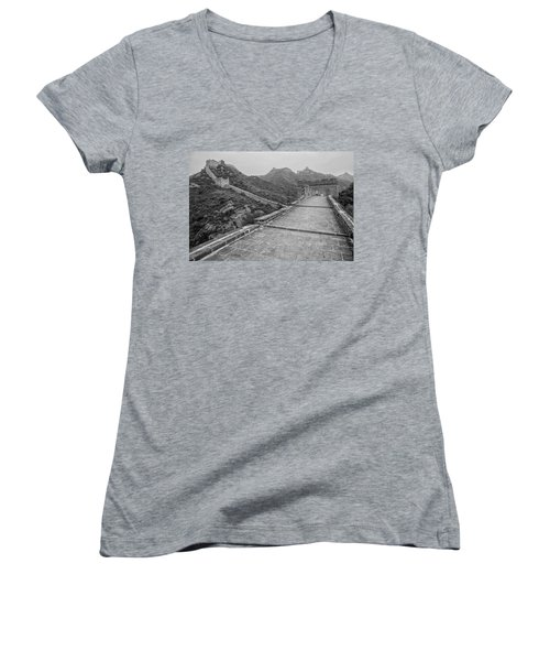 Women's V-Neck T-Shirt (Junior Cut) featuring the photograph Great Wall 5, Jinshanling, 2016 by Hitendra SINKAR