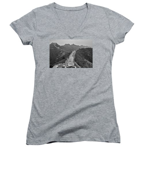 Women's V-Neck T-Shirt (Junior Cut) featuring the photograph Great Wall 6, Jinshanling, 2016 by Hitendra SINKAR