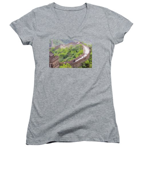Great Wall At Badaling Women's V-Neck (Athletic Fit)