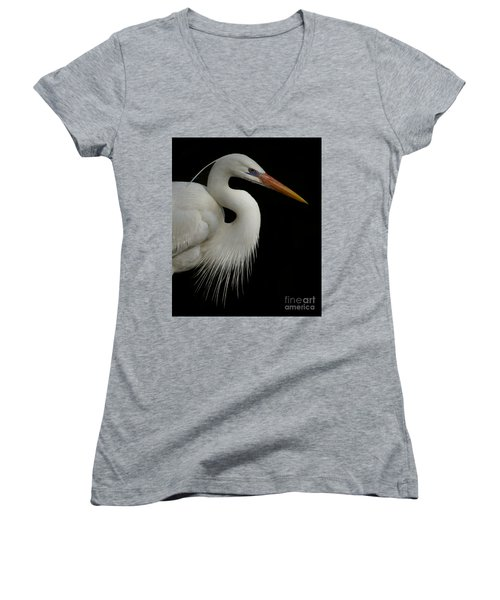 Women's V-Neck T-Shirt (Junior Cut) featuring the photograph Great White Heron Portrait by Myrna Bradshaw