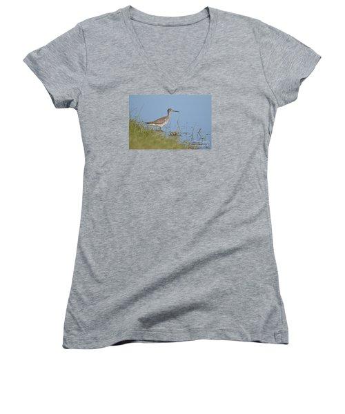 Greater Yellowlegs Women's V-Neck T-Shirt (Junior Cut)