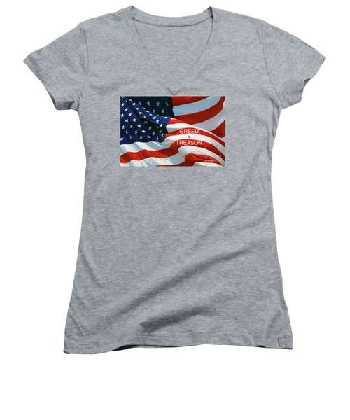 Women's V-Neck T-Shirt (Junior Cut) featuring the photograph Greed Is Treason by Paul W Faust - Impressions of Light