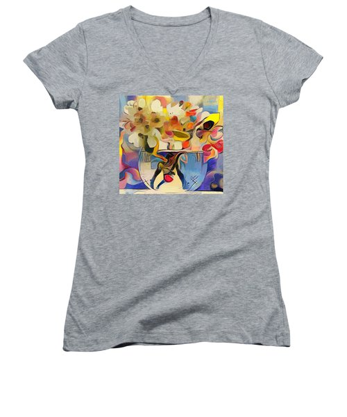 Greek Flowers Women's V-Neck T-Shirt