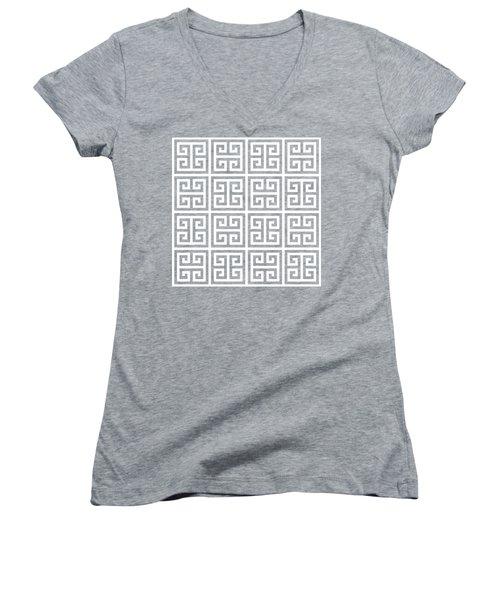 Women's V-Neck T-Shirt (Junior Cut) featuring the digital art Greek Pattern 2 - Chuck Staley by Chuck Staley