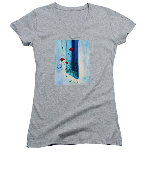 Women's V-Neck T-Shirt featuring the painting Greek Poppies by Xueling Zou