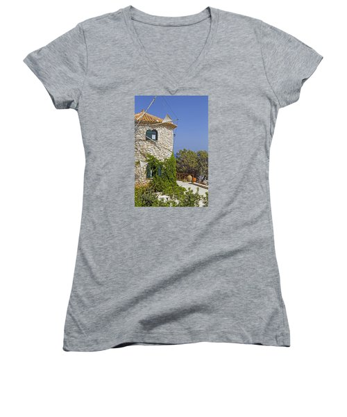 Greek Windmill Women's V-Neck T-Shirt (Junior Cut) by Rainer Kersten