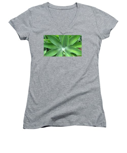 Green Agave Leaves Women's V-Neck