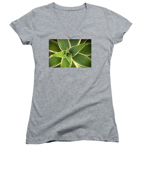 Women's V-Neck T-Shirt (Junior Cut) featuring the photograph Green Agave by Catherine Lau