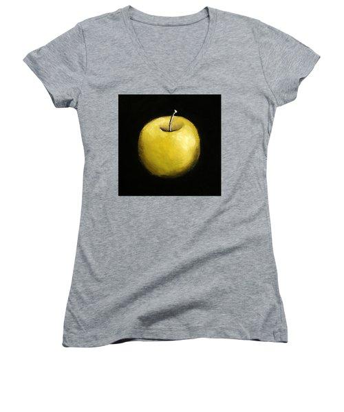 Green Apple Still Life 2.0 Women's V-Neck T-Shirt (Junior Cut) by Michelle Calkins