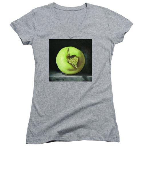 Green Apple With Leaf Women's V-Neck T-Shirt