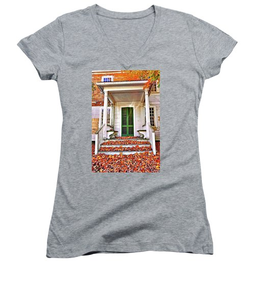 Green Autumn Door Women's V-Neck T-Shirt (Junior Cut) by Joan Reese