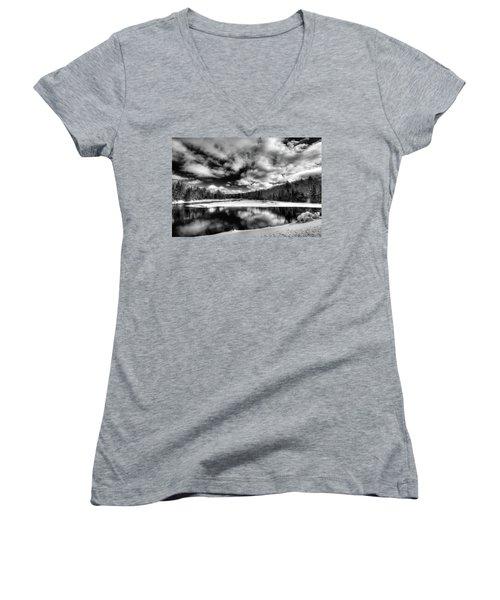 Women's V-Neck T-Shirt (Junior Cut) featuring the photograph Green Bridge Solitude by David Patterson