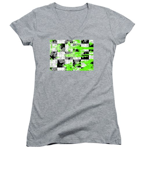 Green Checker Skull Splatter Women's V-Neck T-Shirt