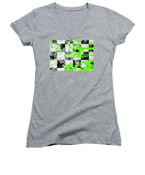 Green Checker Skull Splatter Women's V-Neck T-Shirt